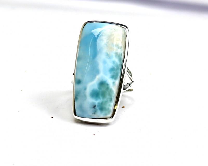 Beautiful Natural Ocean Blue Larimar .925 Sterling Silver Ring #8.5