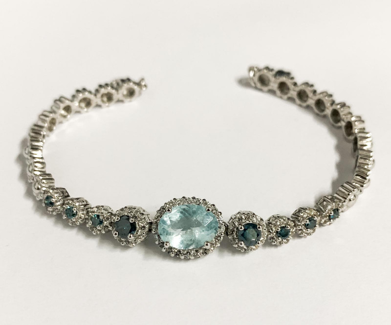 Aquamarine  Blue Diamond 925 Silver Designer bracelet