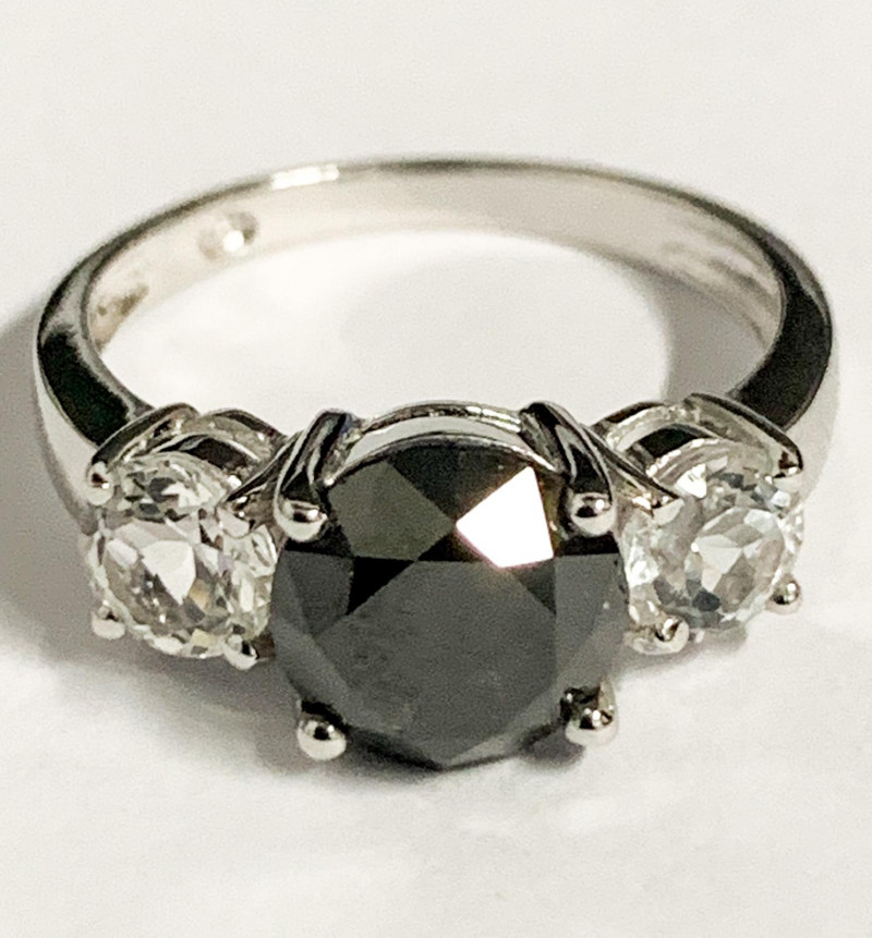 Stylish Natural Black Diamond  2.64 Cts And Topaz Ring ~ Silver