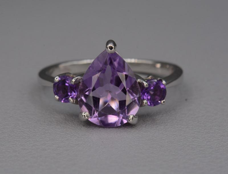 Natural Amethyst 11.68 Cts Silver Ring
