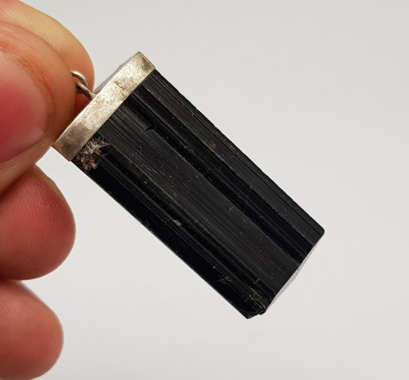 Natural Black Tourmaline 925 Silver Pendant 91.20 Carats