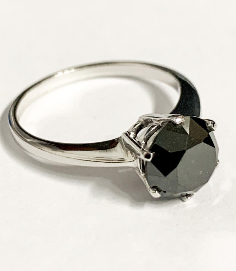 Stylish Natural 2.44 Cts Black Diamond And Topaz Ring ~ Silver