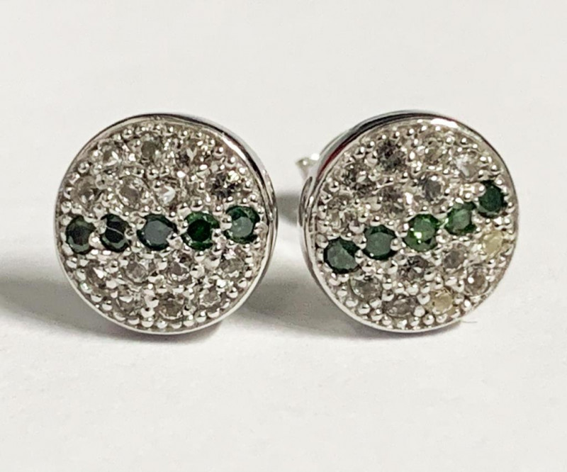 Stylish Natural Green Diamond And Topaz Ring ~ Silver