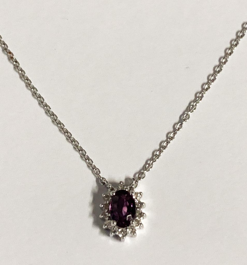 Natural  Unheated Purple Spinel And Topaz ~ Silver Necklace