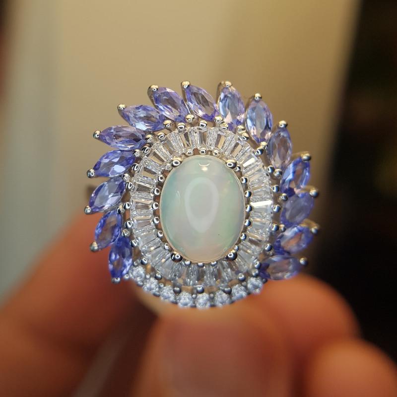 Natural Tanzanite And Opal Ring