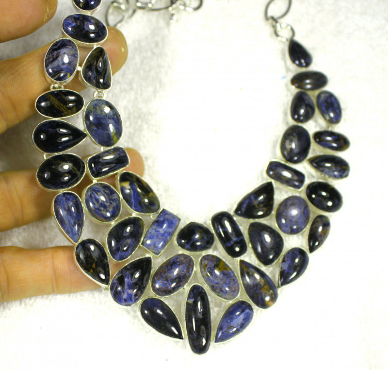 612.0 Tcw. Sterling Silver Pietersite Necklace - Gorgeous