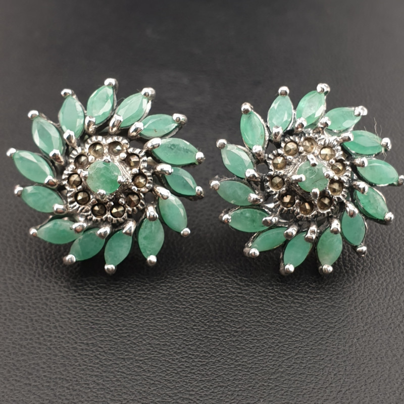 Natural Emerald and Marcasite Earrings.