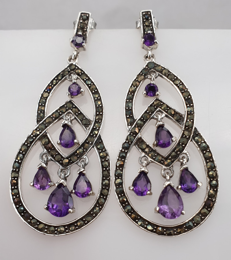 Natural Amethyst and Marcasite Earrings.