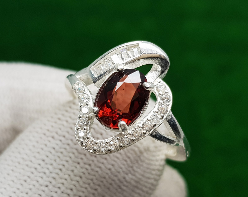 Natural Garnet Silver 925 Sterling Silver Ring