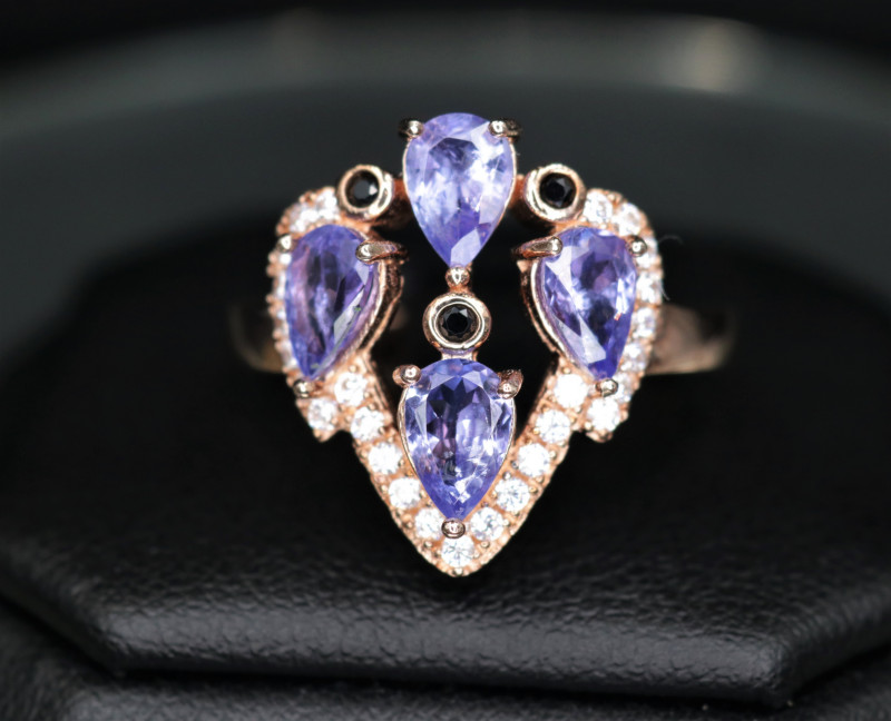 Gorgeous Natural Tanzanite, CZ & 925 Rose Gold Stylish Silver Ring