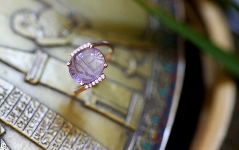 Amethyst Silver Ring Copper Plated Egyptian Scarab design Size6 CK 708