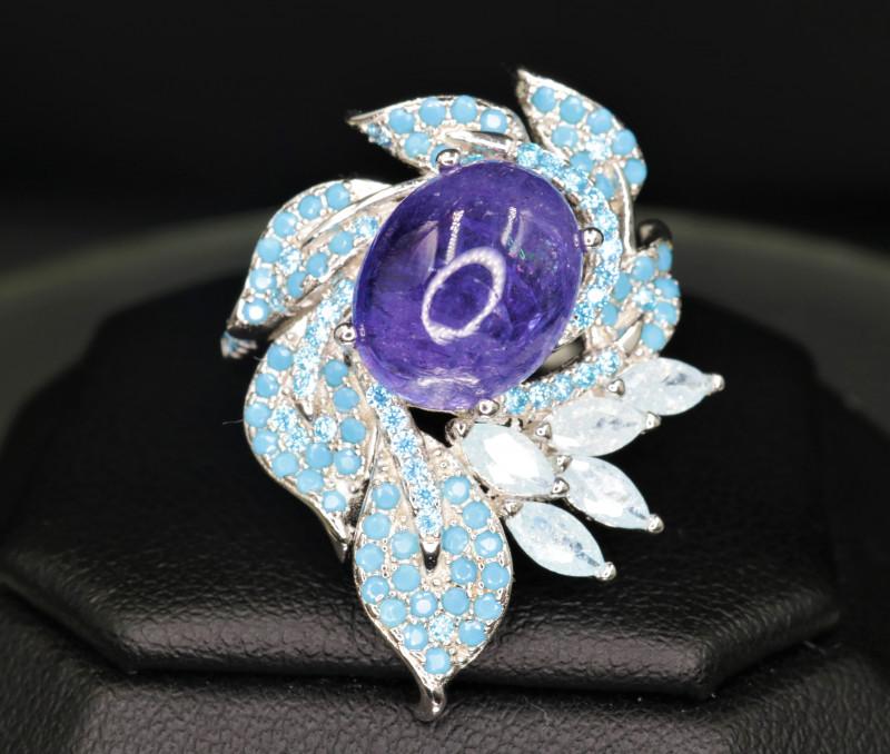 Attractive Natural Tanzanite, CZ & 925 Stylish Silver Design Ring