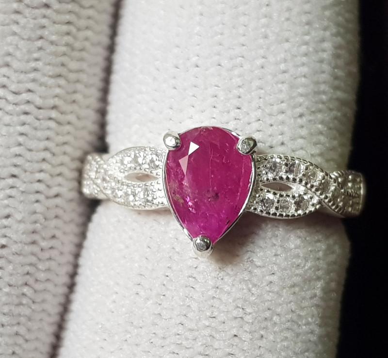 Natural Ruby 16.45 Carats 925 Silver Ring (SA)