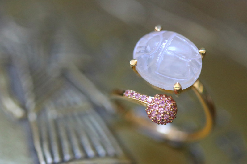 Moonstone Silver Ring Gold Plated - Egyptian Scarab design Size6 CK 721