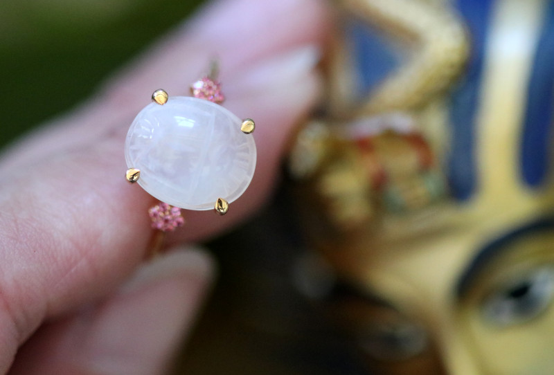 Moonstone Silver Ring Gold Plated - Egyptian Scarab design Size6.5 CK 723