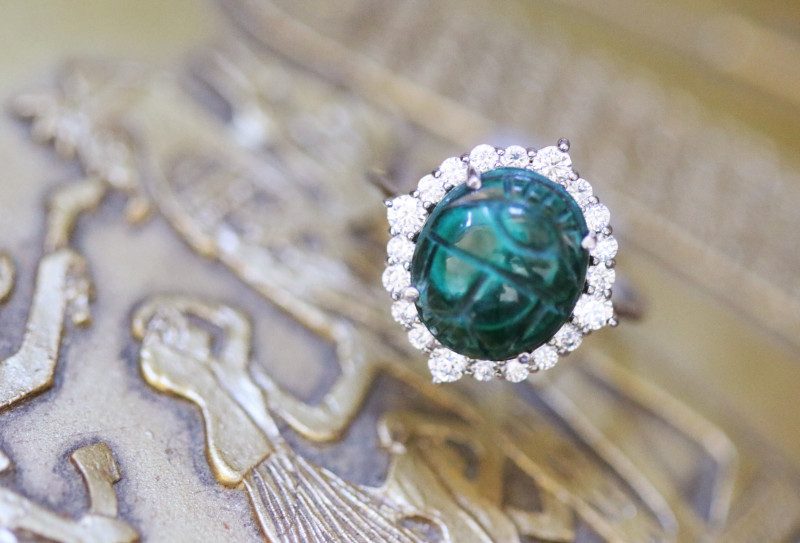 Chrysocolla Silver Ring with Egyptian Scarab design Size6 CK 726