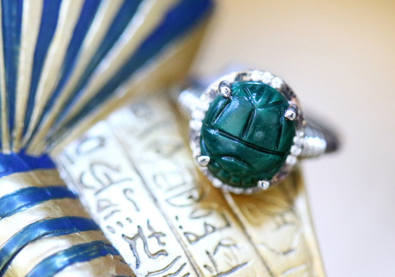 Chrysocolla Silver Ring  with Egyptian Scarab design Size6 CK 727