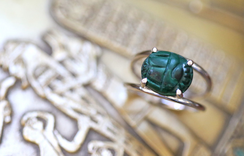 Chrysocolla Silver Ring with Egyptian Scarab design Size6.5 CK 729