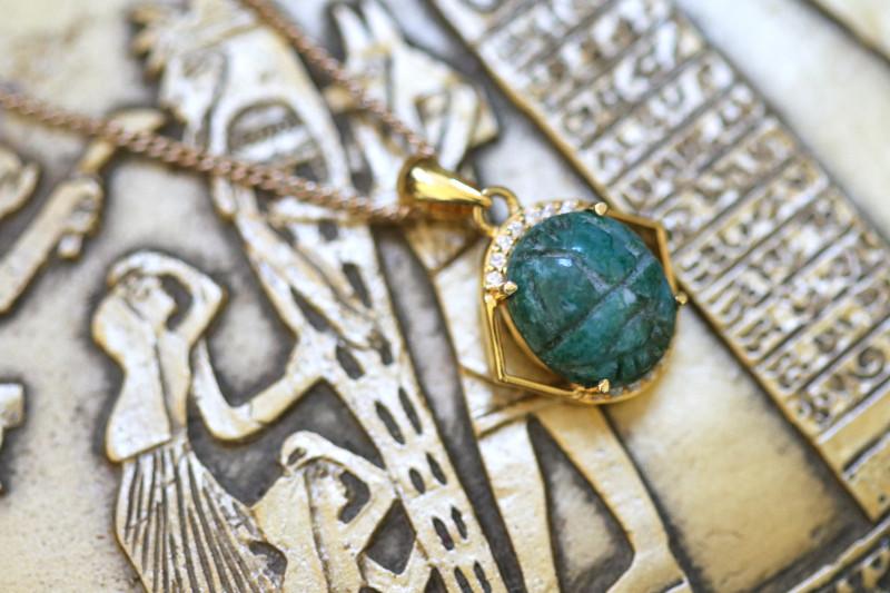 Chrysocolla Silver Pendant  Gold Plated - Egyptian Scarab design  CK 738