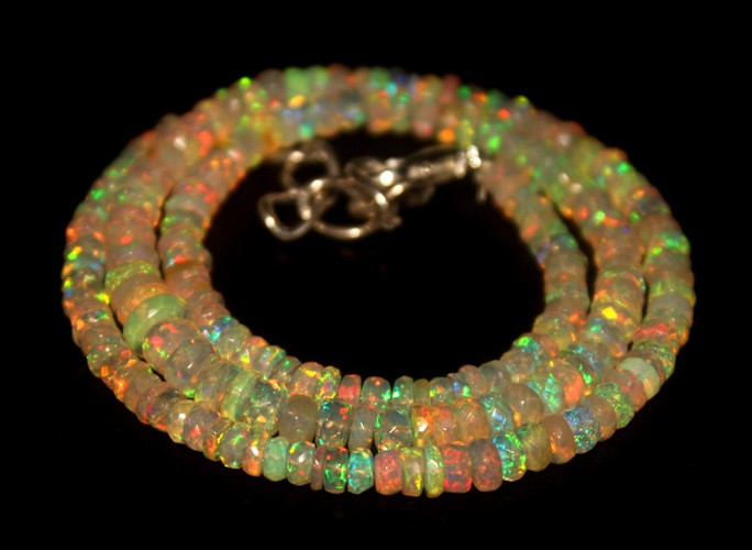 46.75 Crts Natural Welo Faceted Opal Beads Necklace 282