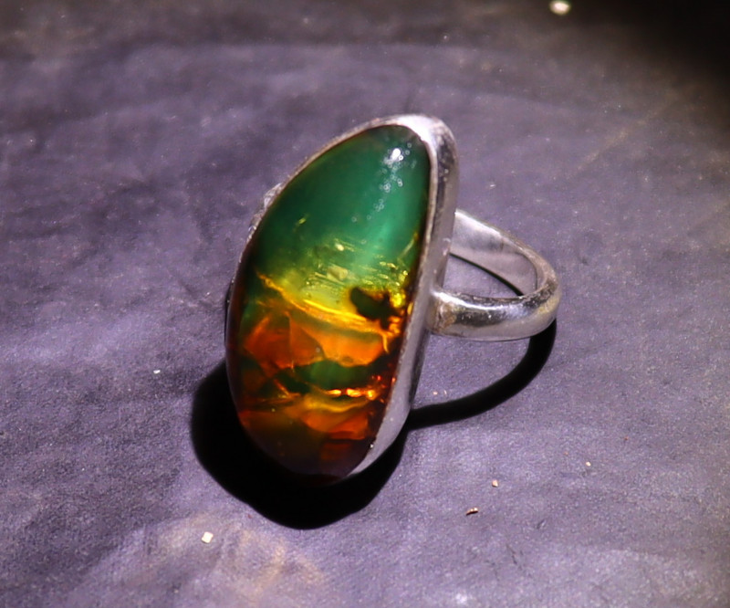 Exquisite Natural Clear Deep Green Amber .925 Sterling Silver Ring #8