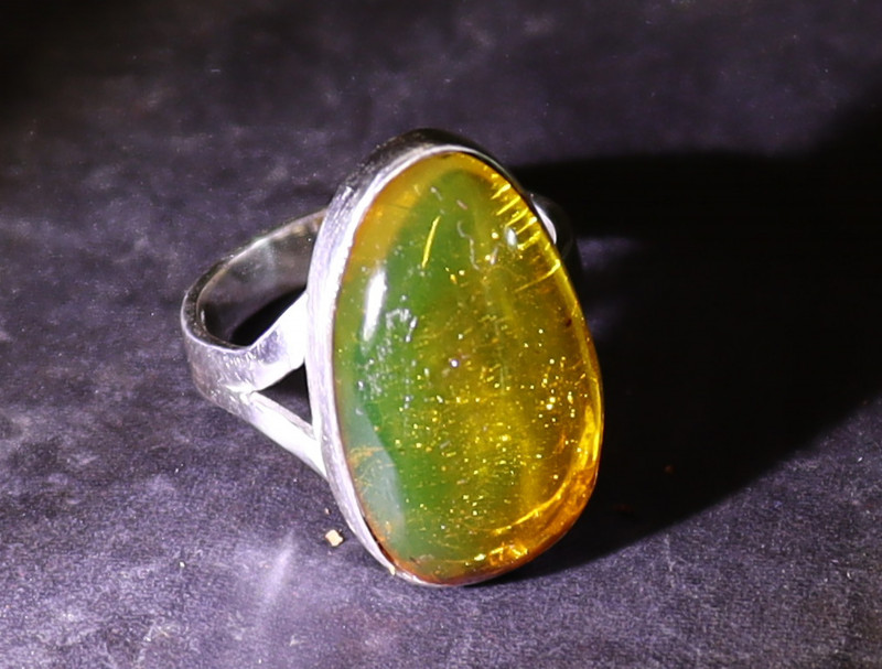 Exquisite Natural Clear Orange Green Amber .925 Sterling Silver Ring #5.5
