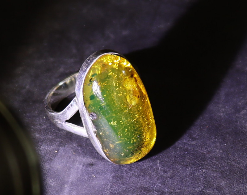 Beautiful Natural Clear Orange Green Amber .925 Sterling Silver Ring #6