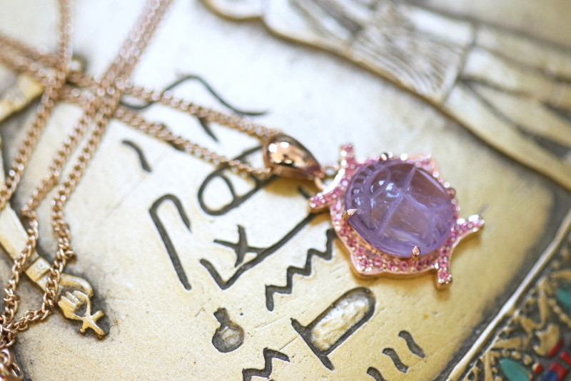 Amethyst Silver Pendant  Copper Plated - Egyptian Scarab design CK 768