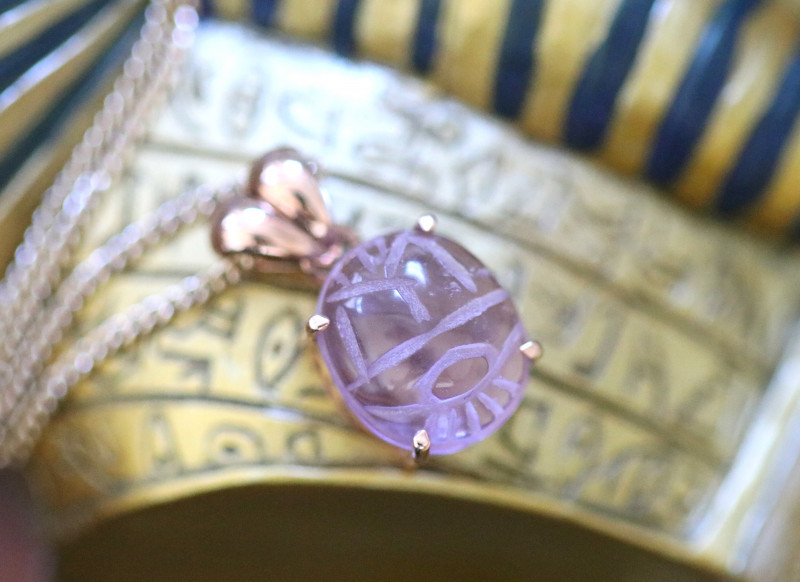 Amethyst Silver Pendant  Copper Plated - Egyptian Scarab design CK 769