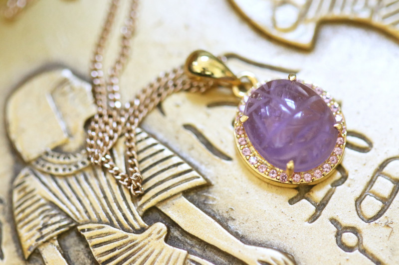Amethyst Silver Pendant Gold Plated - Egyptian Scarab design CK 775