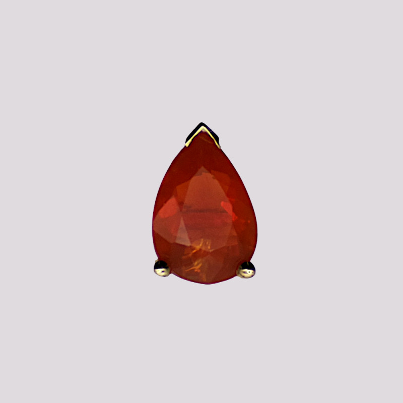 Mexican Fire Opal Stud Earring, 14k Yellow Gold, Pear Cut
