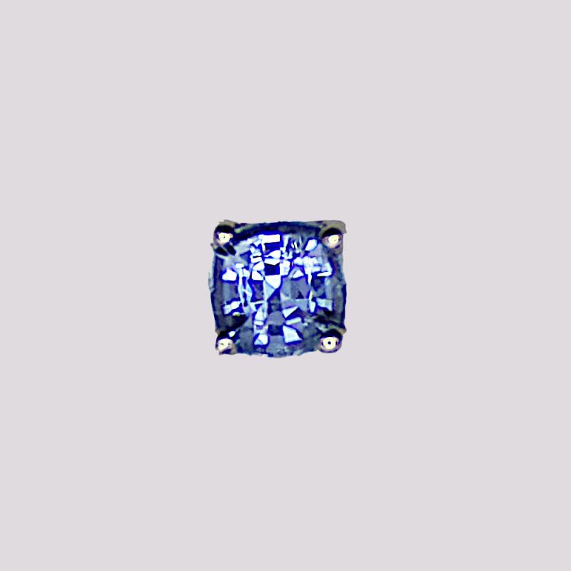 Blue Sapphire Stud Earring, 14k Yellow Gold, Cushion Cut