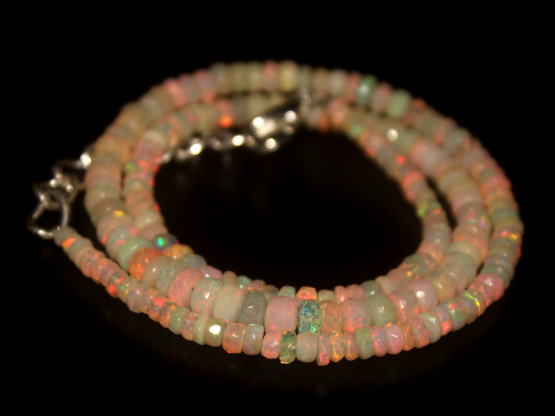 42.20 Crts Natural Welo Faceted Opal Beads Necklace 310