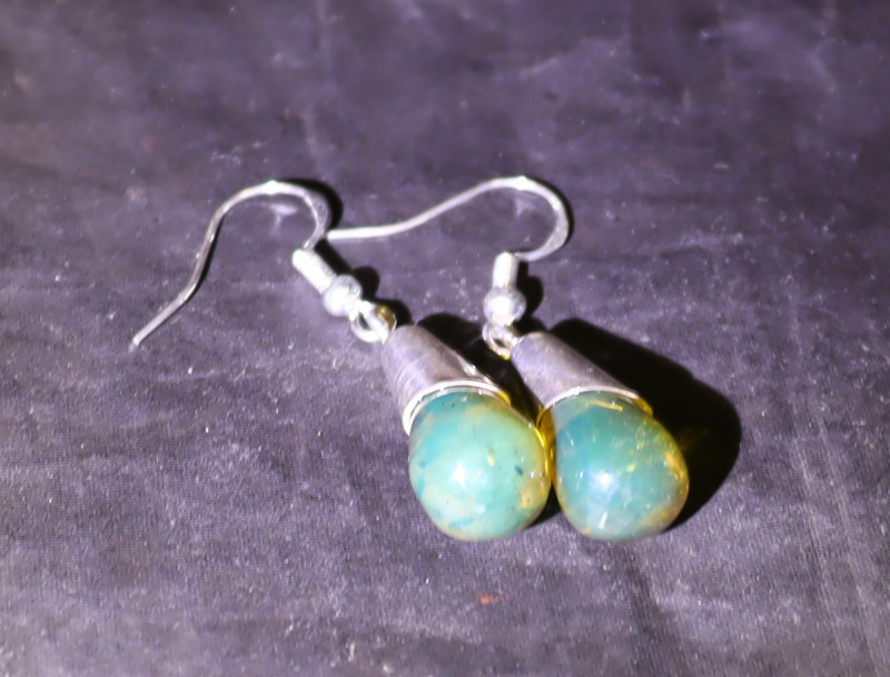 Lovely Natural Clear Green Blue Amber .925 Sterling Silver Earrings 42mm