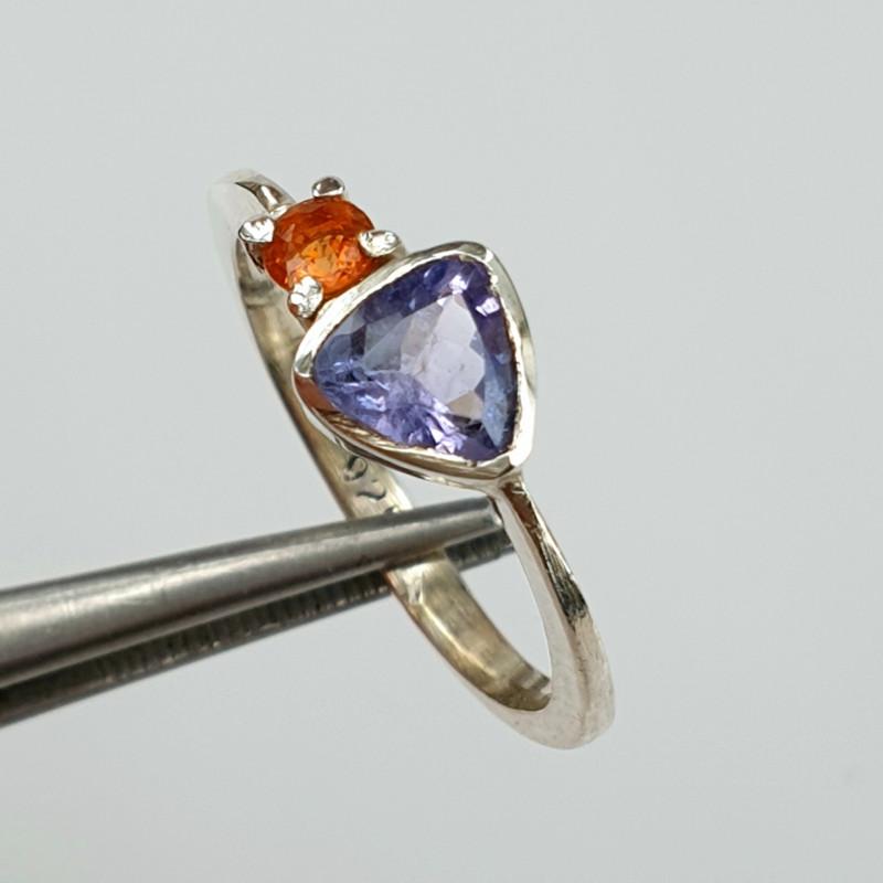 Natural Tanzanite and Sapphire Ring