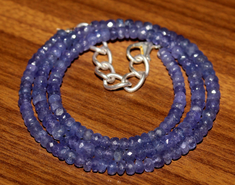 62 Crts Natural Tanzanite Faceted Beads Necklace