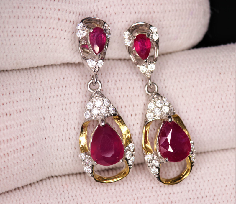 Attractive Natural Ruby, CZ & 925  Fancy Sterling Silver Earring
