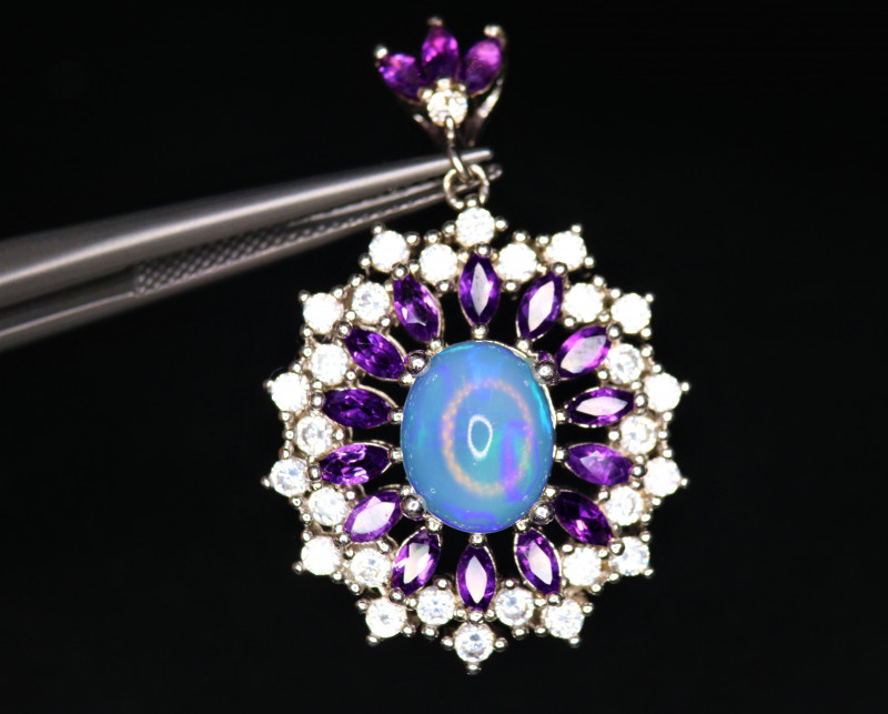 Gorgeous Natural Fire Opal, Amethyst, CZ & 925 Stylish Sterling Silver Pend
