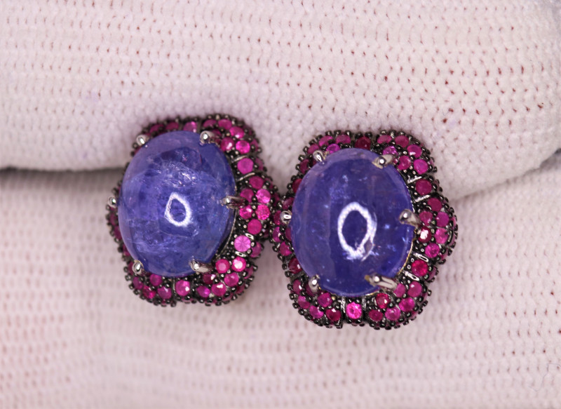 Gorgeous Natural Tanzanite, Ruby & 925 Fancy Sterling Silver Earrings