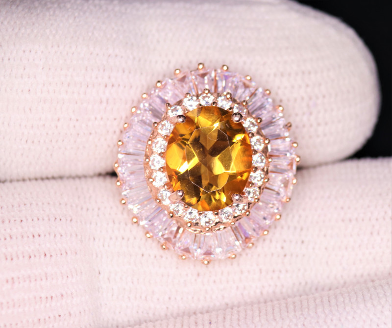 Gorgeous Natural Citrine , CZ & 925 Rose Gold Stylish Sterling  Silver Ring