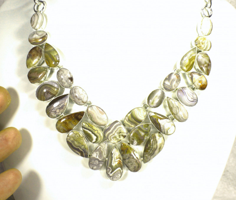 474.5 Tcw. Laguna Lace Agate, Sterling Silver Necklace - Gorgeous