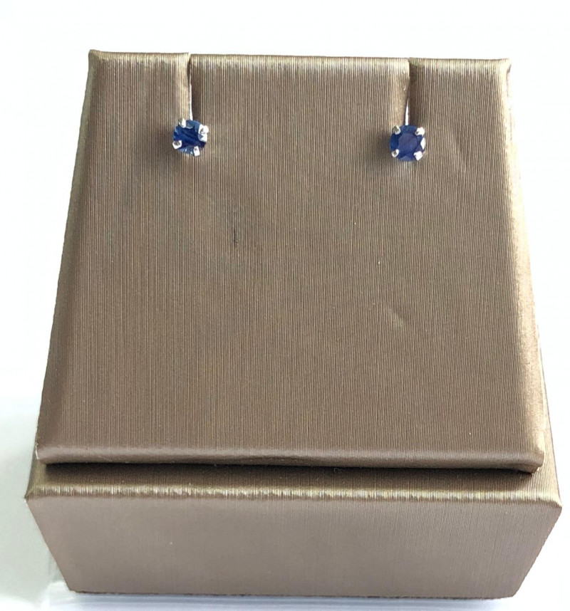 Natural Blue Sapphire 0.23 Cts Stylish  Silver Earring