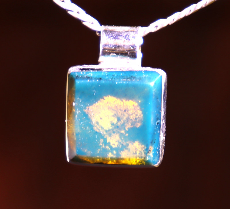 Exquisite Natural Clear Sky Blue Amber .925 Sterling Silver Pendant 21mm