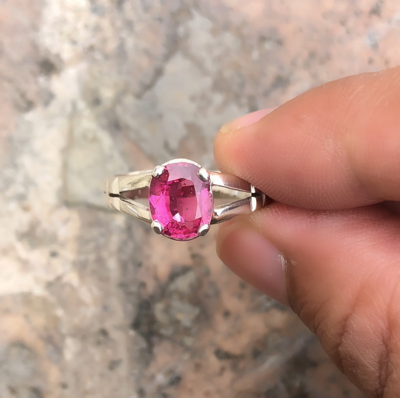 20.20 Ct Natural Red Transparent Rubellite Tourmaline Gem Ring Solid Silver