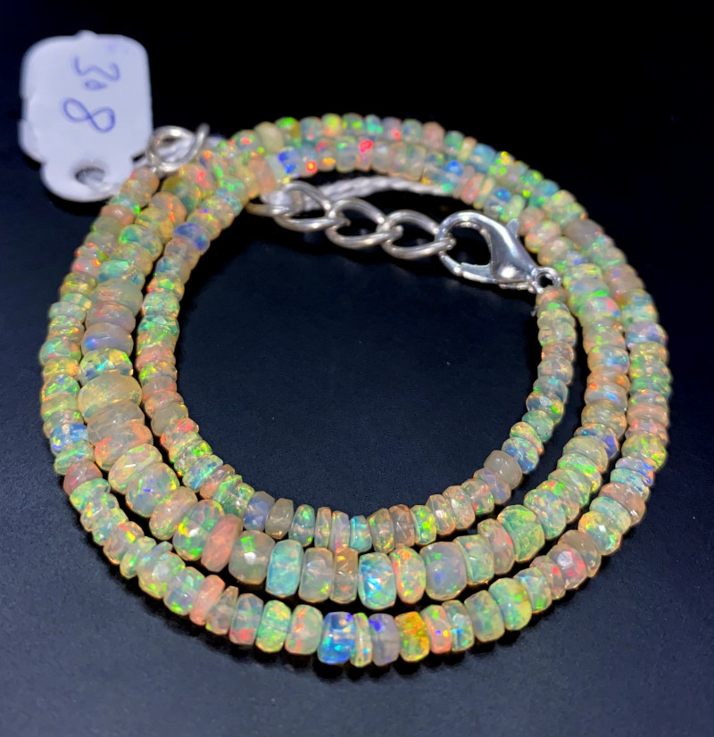 36.70 Crts Natural Welo Faceted Opal Beads Necklace 308