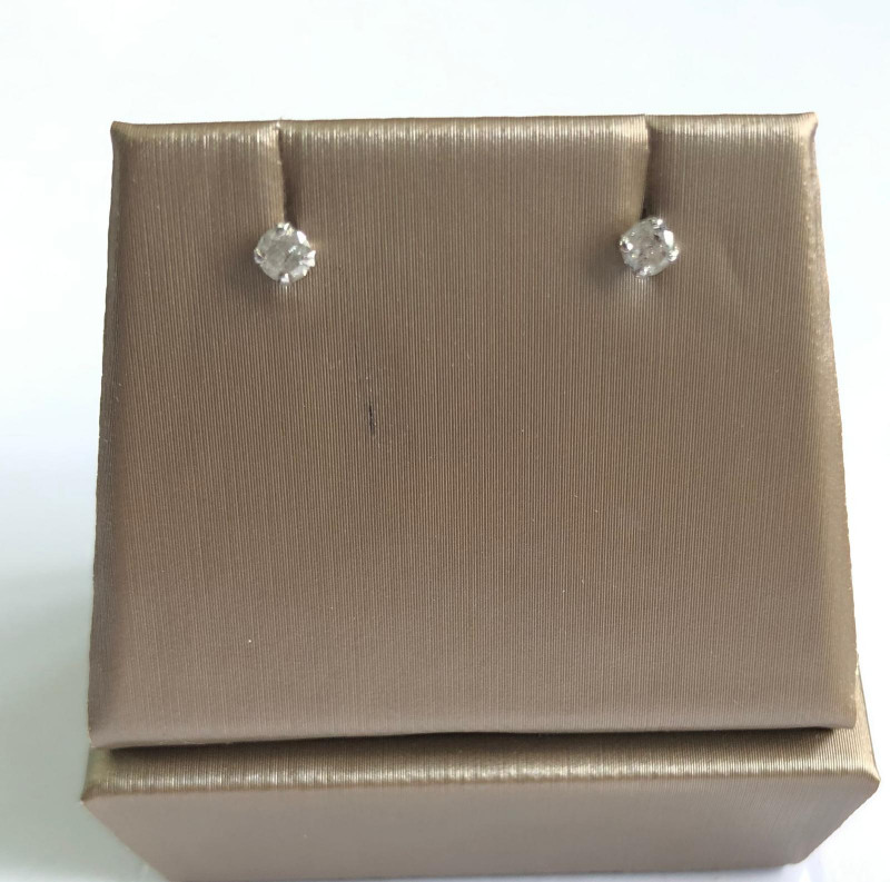 Stylish Natural Diamond 0.19 Cts  Silver Earring