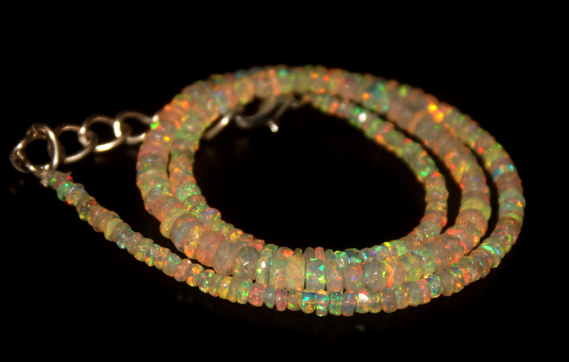 35.80 Crts Natural Welo Faceted Opal Beads Necklace 343