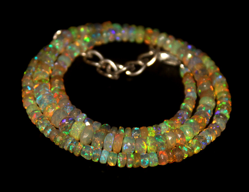 46.90 Crts Natural Welo Faceted Opal Beads Necklace 348