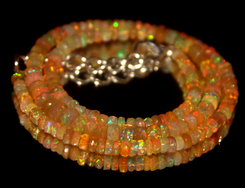46.30 Crts Natural Welo Faceted Opal Beads Necklace 427