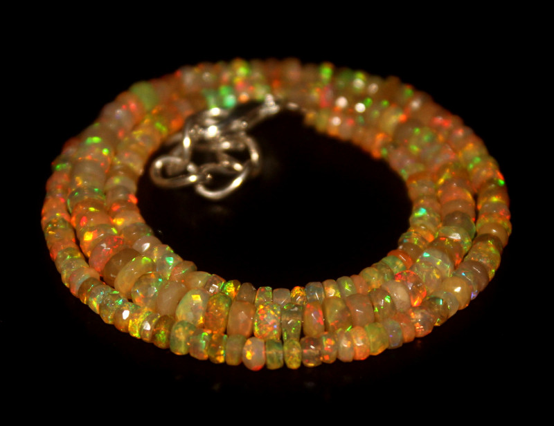 42 Crts Natural Welo Faceted Opal Beads Necklace 339